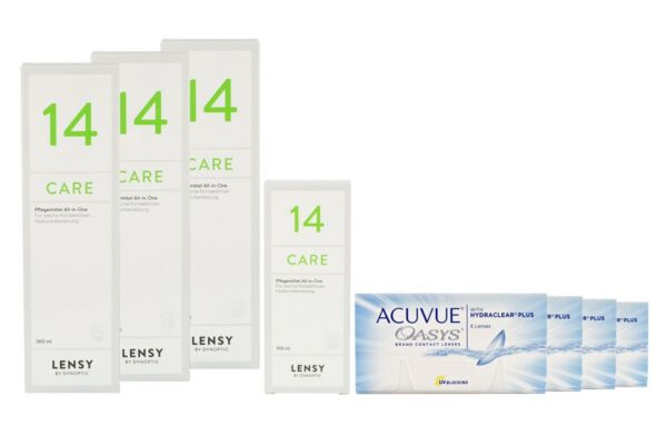 Acuvue Oasys 4 x 6 Zwei-Wochenlinsen + Lensy Care 14 Halbjahres-Sparpaket
