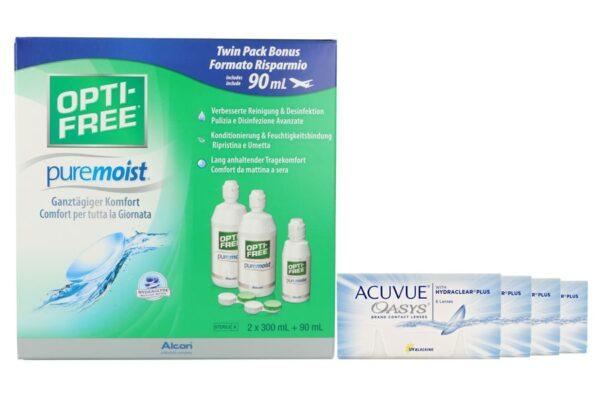 Acuvue Oasys 4 x 6 Zwei-Wochenlinsen + Opti Free Pure Moist Halbjahres-Sparpaket