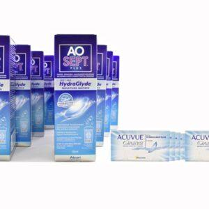 Acuvue Oasys 8 x 6 Zwei-Wochenlinsen + AoSept Plus HydraGlyde Jahres-Sparpaket