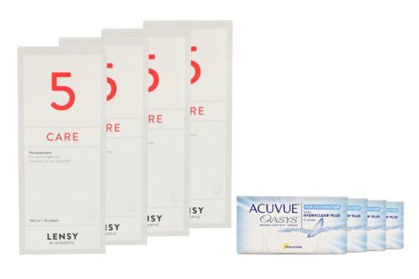 Acuvue Oasys for Astigmatism 4 x 6 Zwei-Wochenlinsen + Lensy Care 5 Halbjahres-Sparpaket