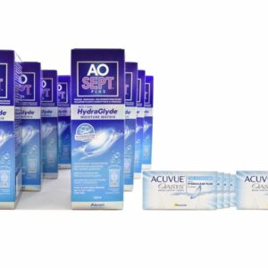 Acuvue Oasys for Astigmatism 8 x 6 Zwei-Wochenlinsen + AoSept Plus HydraGlyde Jahres-Sparpaket