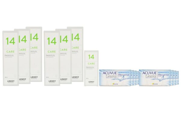 Acuvue Oasys for Astigmatism 8 x 6 Zwei-Wochenlinsen + Lensy Care 14 Jahres-Sparpaket