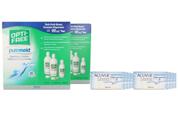 Acuvue Oasys for Astigmatism 8 x 6 Zwei-Wochenlinsen + Opti Free Pure Moist Jahres-Sparpaket