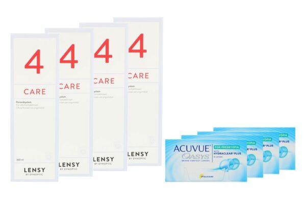 Acuvue Oasys for Presbyopia 4 x 6 Zwei-Wochenlinsen + Lensy Care 4 Halbjahres-Sparpaket