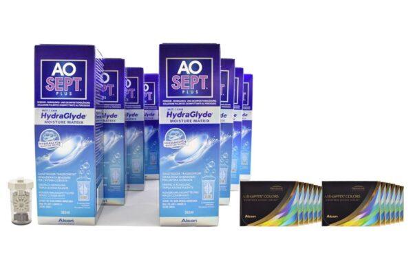 Air Optix Colors 12 x 2 farbige Monatslinsen + AoSept Plus HydraGlyde Jahres-Sparpaket
