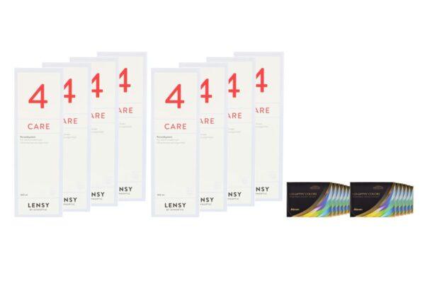 Air Optix Colors 12 x 2 farbige Monatslinsen + Lensy Care 4 Jahres-Sparpaket