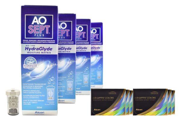 Air Optix Colors 6 x 2 farbige Monatslinsen + AoSept Plus HydraGlyde Halbjahres-Sparpaket