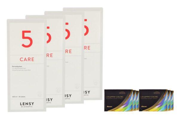 Air Optix Colors 6 x 2 farbige Monatslinsen + Lensy Care 5 Halbjahres-Sparpaket