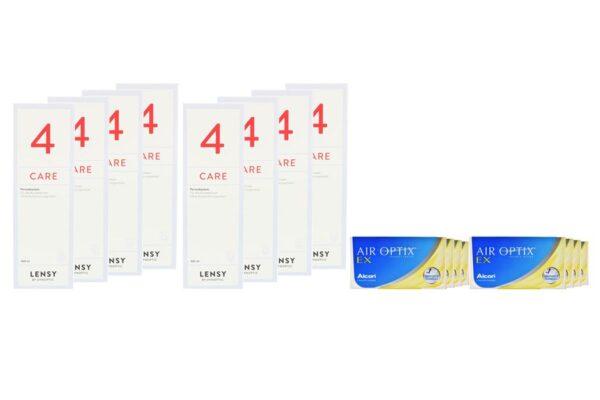 Air Optix EX 8 x 3 Monatslinsen + Lensy Care 4 Jahres-Sparpaket