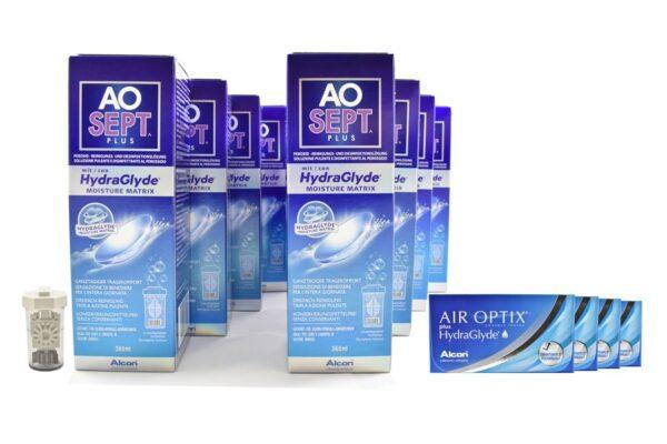 Air Optix plus HydraGlyde 4 x 6 Monatslinsen + AoSept Plus HydraGlyde Jahres-Sparpaket