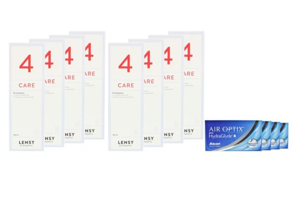 Air Optix plus HydraGlyde 4 x 6 Monatslinsen + Lensy Care 4 Jahres-Sparpaket