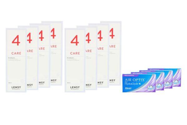 Air Optix plus HydraGlyde Multifocal 4 x 6 Monatslinsen + Lensy Care 4 Jahres-Sparpaket