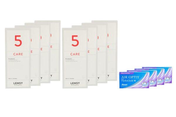 Air Optix plus HydraGlyde Multifocal 4 x 6 Monatslinsen + Lensy Care 5 Jahres-Sparpaket