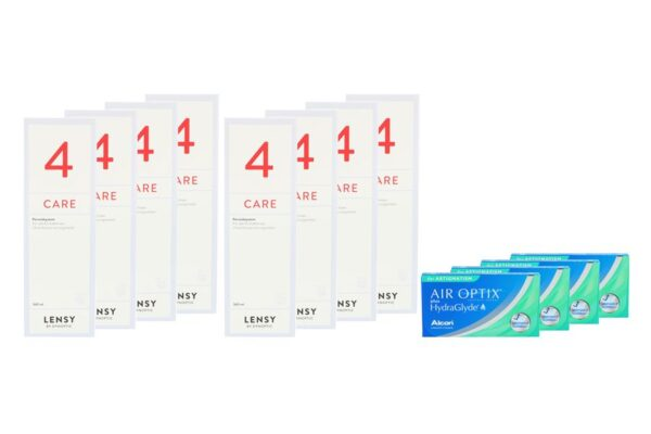 Air Optix plus HydraGlyde for Astigmatism 4 x 6 Monatslinsen + Lensy Care 4 Jahres-Sparpaket