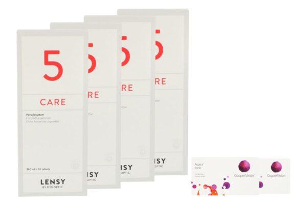Avaira toric Vitality 2 x 6 Monatslinsen + Lensy Care 5 Halbjahres-Sparpaket