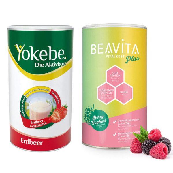 BEAVITA Vitalkost Plus Himbeere-Joghurt + Yokebe Erdbeere