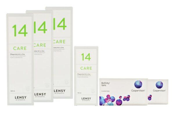 Biofinity toric 2 x 6 Monatslinsen + Lensy Care 14 Halbjahres-Sparpaket