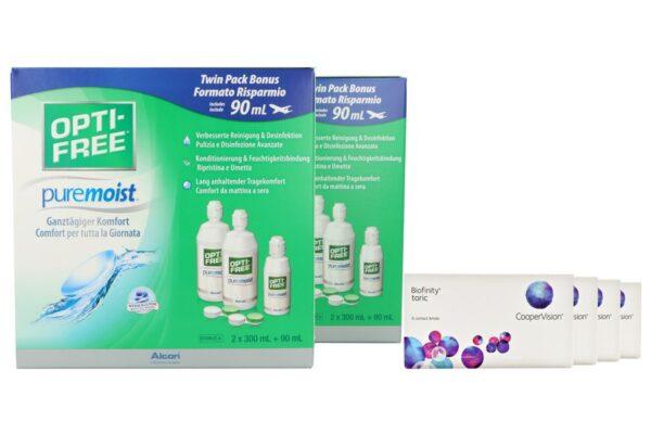 Biofinity toric 4 x 6 Monatslinsen + Opti Free Pure Moist Jahres-Sparpaket