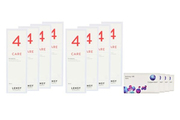 Biofinity toric XR 4 x 6 Monatslinsen + Lensy Care 4 Jahres-Sparpaket