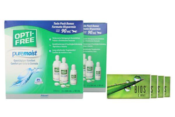 Bios Comfort 4 x 6 Monatslinsen + Opti Free Pure Moist Jahres-Sparpaket
