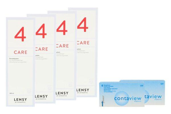 Contaview aspheric UV 2 x 6 Monatslinsen + Lensy Care 4 Halbjahres-Sparpaket