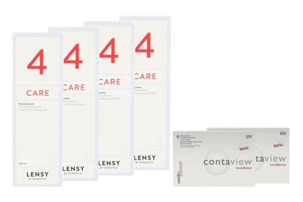 Contaview excellence toric UV 2 x 6 Monatslinsen + Lensy Care 4 Halbjahres-Sparpaket