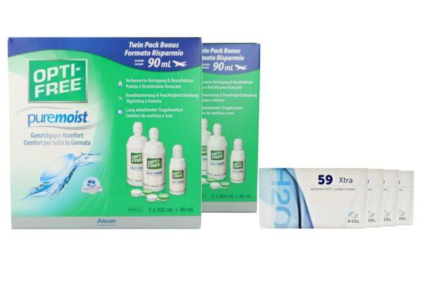 Extreme H2O 59 Xtra 4 x 6 Monatslinsen + Opti Free Pure Moist Jahres-Sparpaket