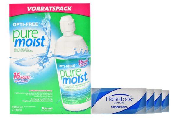 Fresh Look Colors 4 x 2 Monatlinsen + Opti-Free PureMoist All-in-One 2 x 300 ml