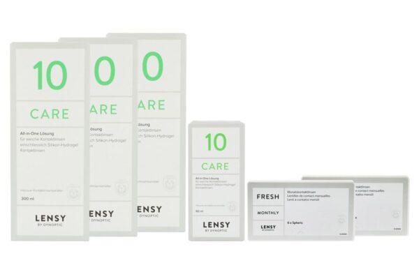 Lensy Monthly Fresh Spheric 2 x 6 Monatslinsen + Lensy Care 10 Halbjahres-Sparpaket