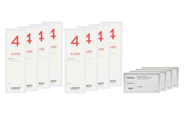 Lensy Monthly Fresh Spheric 4 x 6 Monatslisen + Lensy Care 4 Jahres-Sparpaket