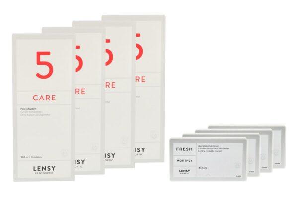 Lensy Monthly Fresh Toric 4 x 3 Monatslinsen + Lensy Care 5 Halbjahres-Sparpaket