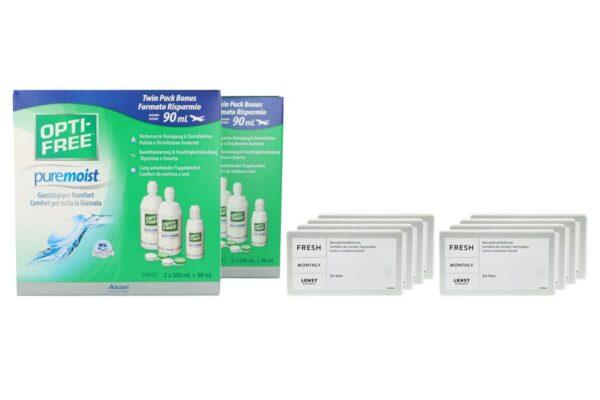 Lensy Monthly Fresh Toric 8 x 3 Monatslinsen + Opti Free Pure Moist Jahres-Sparpaket