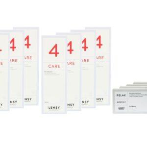 Lensy Monthly Relax Spheric 4 x 6 Monatslinsen + Lensy Care 4 Jahres-Sparpaket