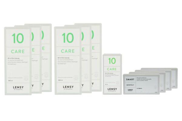 Lensy Monthly Smart Spheric 4 x 6 Monatslinsen + Lensy Care 10 Jahres-Sparpaket