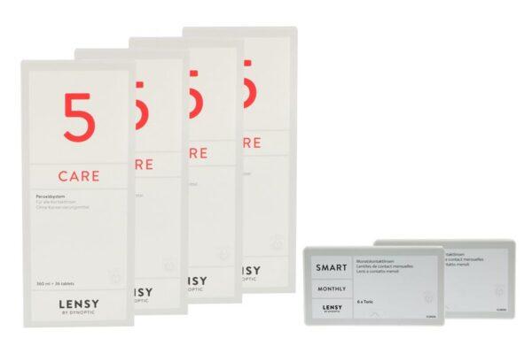 Lensy Monthly Smart Toric 2 x 6 Monatslinsen + Lensy Care 5 Halbjahres-Sparpaket