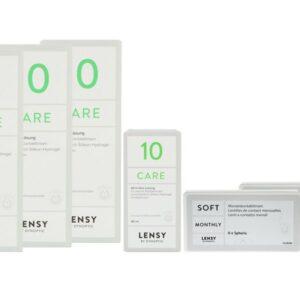 Lensy Monthly Soft Spheric 2 x 6 Monatslinsen + Lensy Care 10 Halbjahres-Sparpaket