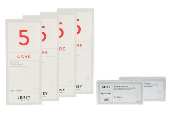 Lensy Monthly Soft Spheric 2 x 6 Monatslinsen + Lensy Care 5 Halbjahres-Sparpaket