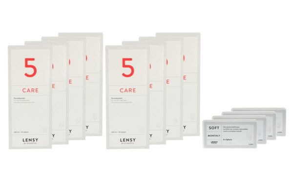 Lensy Monthly Soft Spheric 4 x 6 Monatslinsen + Lensy Care 5 Jahres-Sparpaket