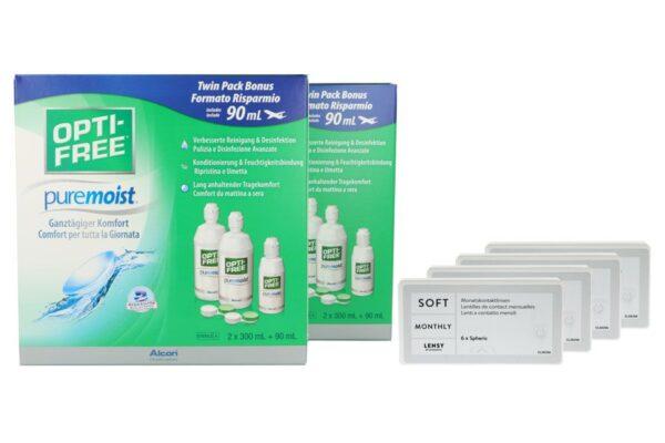 Lensy Monthly Soft Spheric 4 x 6 Monatslinsen + Opti Free Pure Moist Jahres-Sparpaket