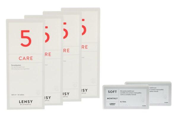 Lensy Monthly Soft Toric 2 x 6 Monatslinsen + Lensy Care 5 Halbjahres-Sparpaket