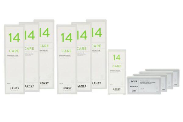 Lensy Monthly Soft Toric 4 x 6 Monatslinsen + Lensy Care 14 Jahres-Sparpaket