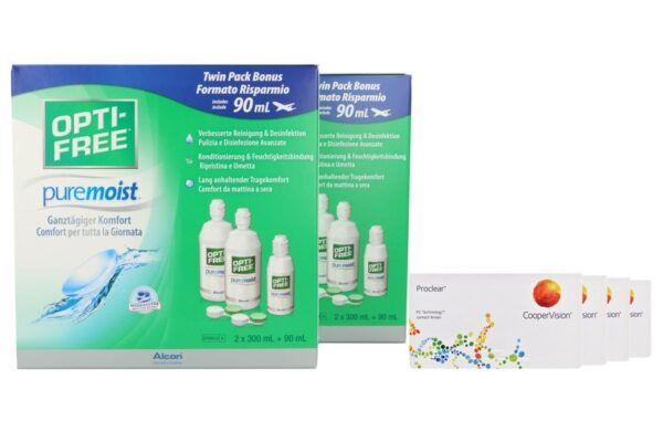 Proclear 4 x 6 Monatslinsen + Opti Free Pure Moist Jahres-Sparpaket