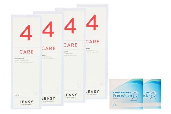 Pure Vision 2 HD 2 x 6 Monatslinsen + Lensy Care 4 Halbjahres-Sparpaket