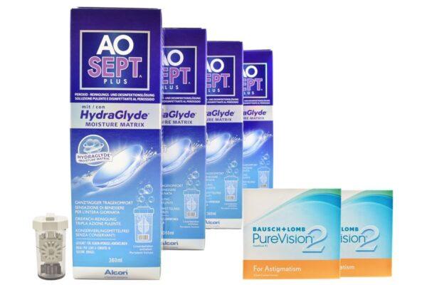 Pure Vision 2 HD For Astigmatism 2 x 6 Monatslinsen + AoSept Plus HydraGlyde Halbjahres-Sparpaket