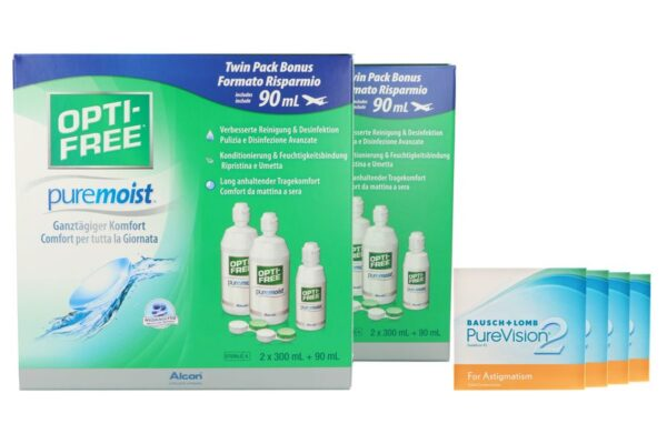 Pure Vision 2 HD For Astigmatism 4 x 6 Monatslinsen + Opti Free Pure Moist Jahres-Sparpaket