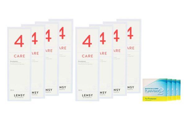Pure Vision 2 HD For Presbyopia 4 x 6 Monatslinsen + Lensy Care 4 Jahres-Sparpaket