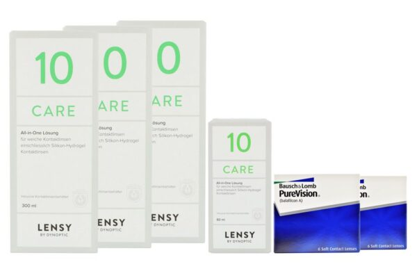 Pure Vision 2 x 6 Monatslinsen + Lensy Care 10 Halbjahres-Sparpaket
