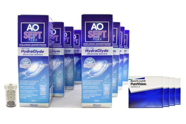 Pure Vision 4 x 6 Monatslinsen + AoSept Plus HydraGlyde Jahres-Sparpaket
