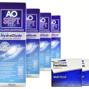 Pure Vision Multifocal 2 x 6 Monatslinsen + AoSept Plus HydraGlyde Halbjahres-Sparpaket