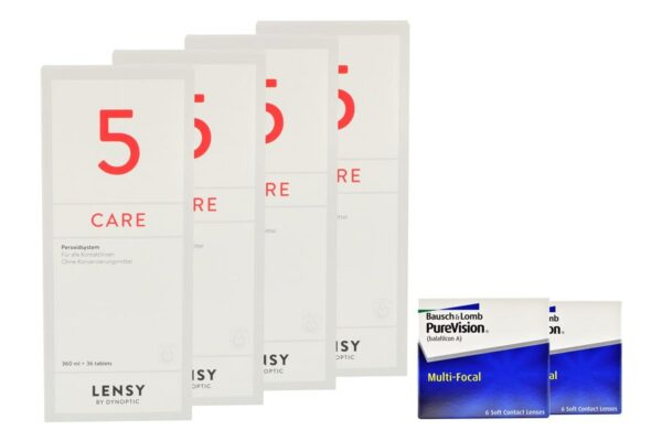 Pure Vision Multifocal 2 x 6 Monatslinsen + Lensy Care 5 Halbjahres-Sparpaket